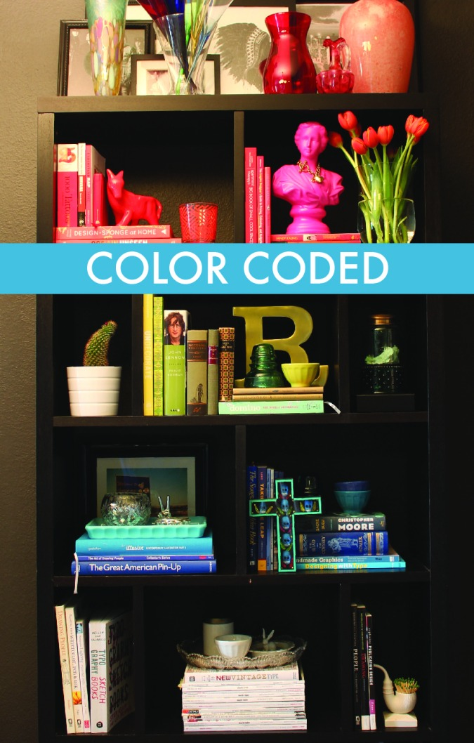 Color Coded Book Case Design/How To BY MOREMORE CREATIVE